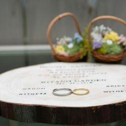 花嫁DIY(結婚証明書、リングピロー、両親贈呈品の年輪の掛け時計)の写真 2枚目