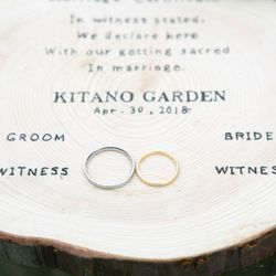 花嫁DIY(結婚証明書、リングピロー、両親贈呈品の年輪の掛け時計)の写真 3枚目