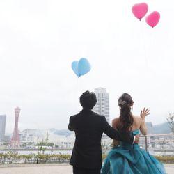 天気が悪くバルーンを式中に飛ばせなかったが、披露宴後、天気大丈夫なので新郎新婦で飛ばしましたの写真 4枚目