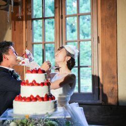 ウエディングケーキ、ケーキ入刀の写真 4枚目