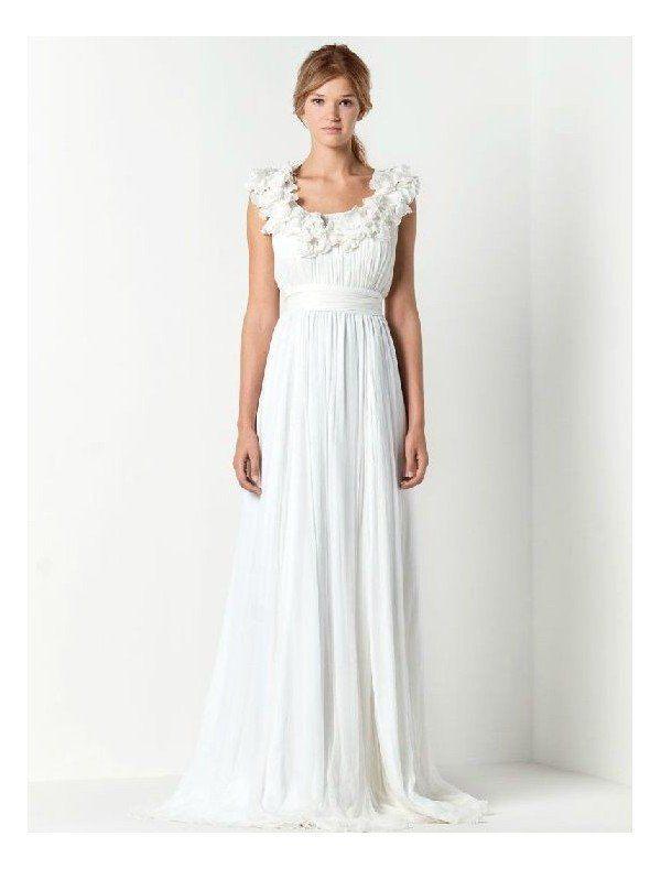 chiffon-ruffle-scoop-neckline-dreamy-column-wedding-dresses-with-draped-skirt