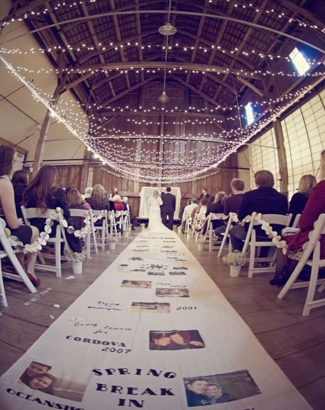 DIY-rustic-vintage-wedding-aisle-runner-with-photos