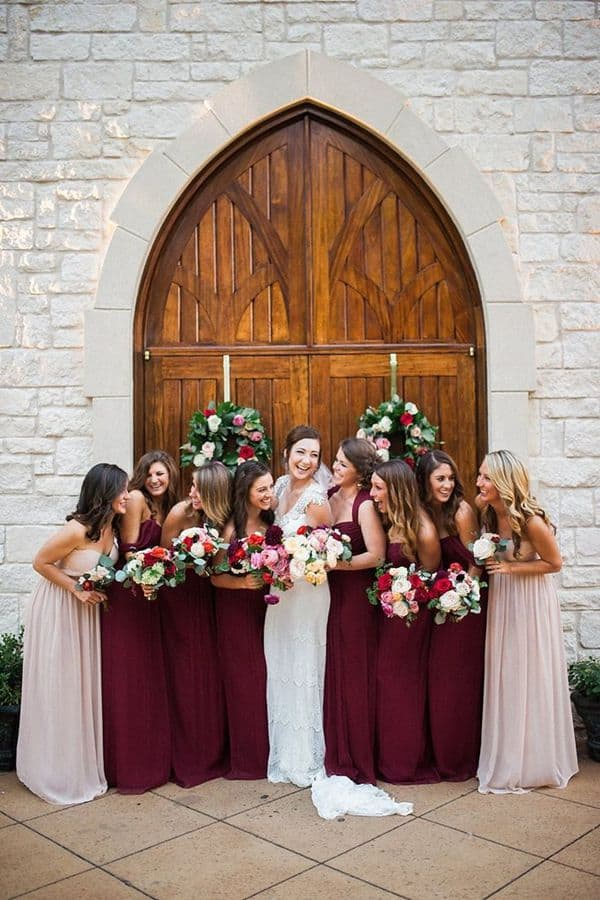 Burgundy-and-Mauve-Amsale-Bridesmaids