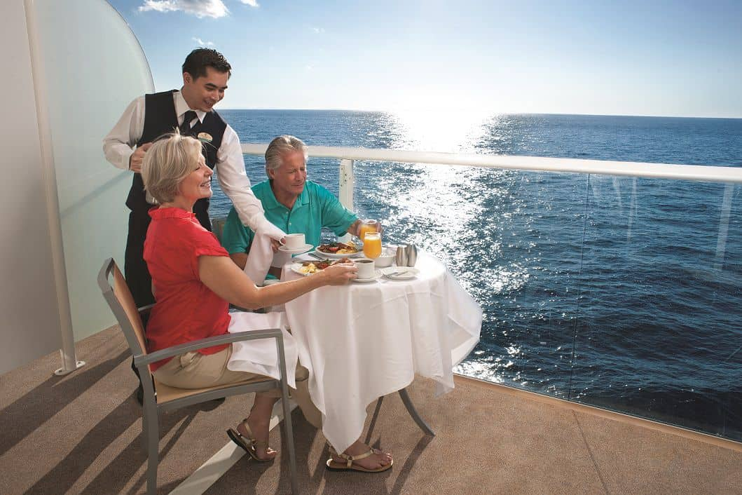 Stateroom, Balcony, Couple, Rail, Ocean View, Waiter, Breakfast, Orange Juice, Coffee, Continental, Couple, Children, Grandpa, Grandma, Grandmother, Grandfather, Senior, Allure of the Seas?, AL, Oasis Class