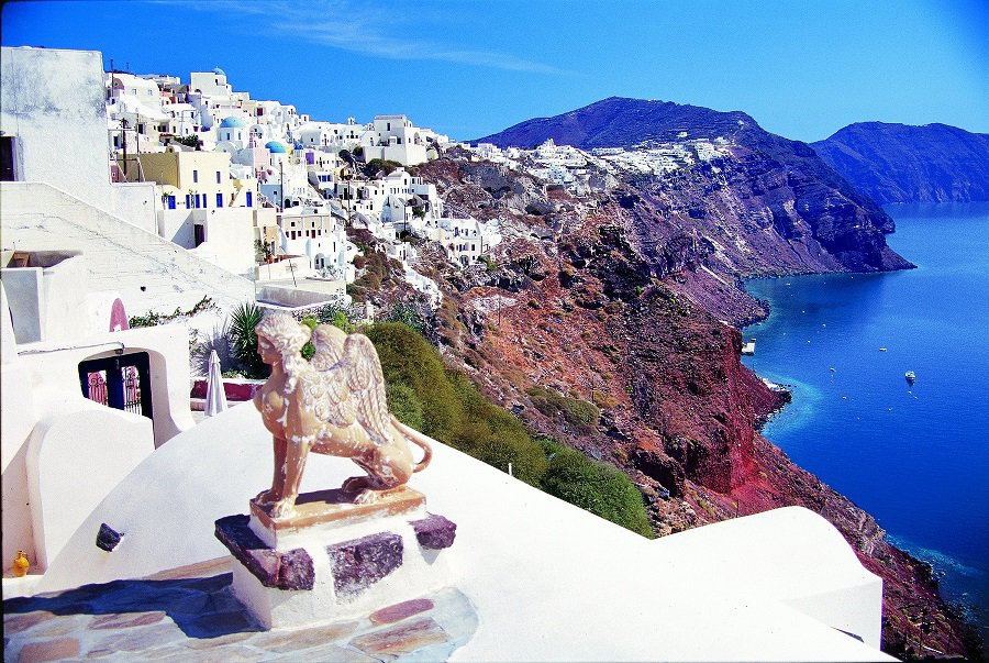 Oia, second largest town on Santorini, most popular sunset viewing location on the island