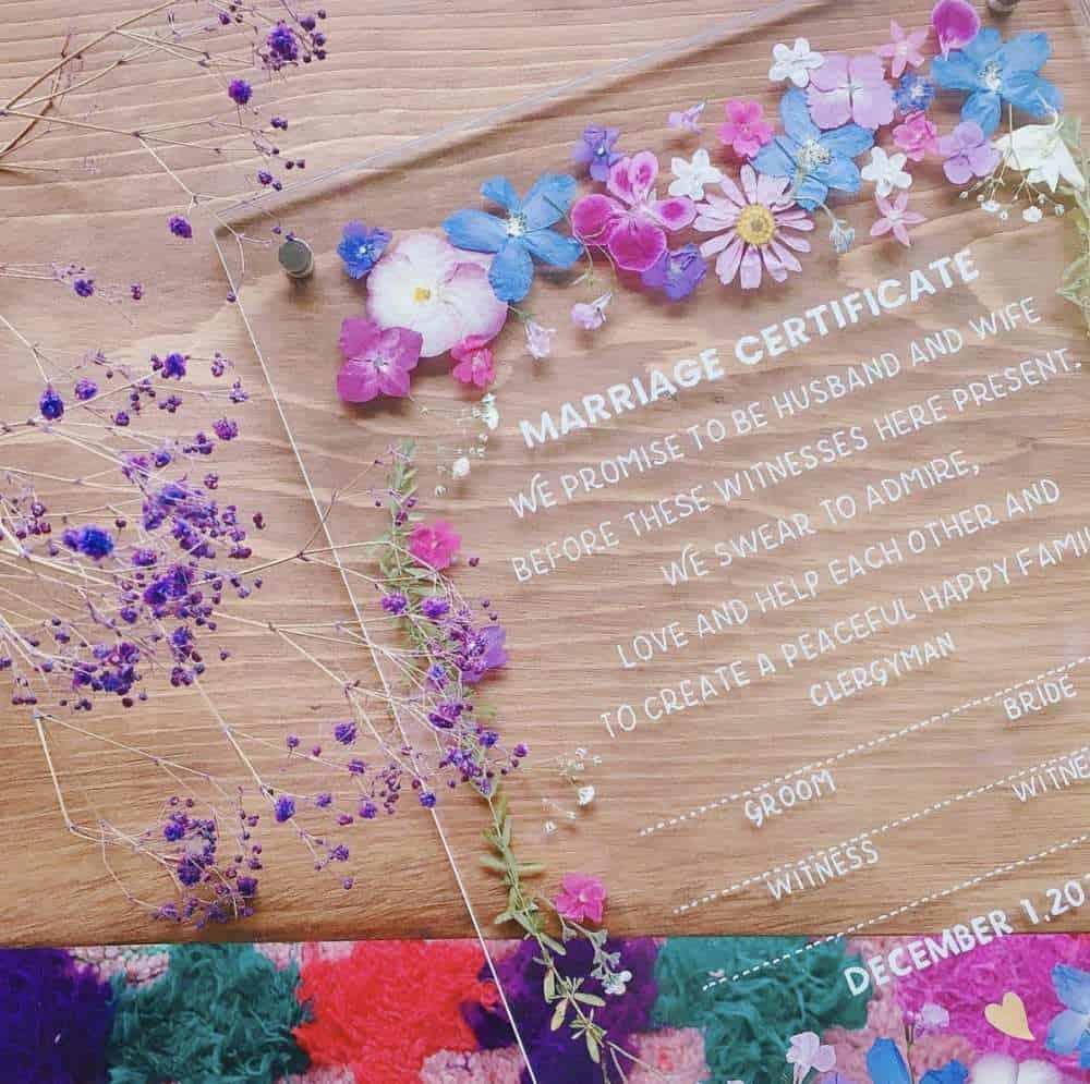 【結婚証明書と受付サイン】の作り方♡アクリル板が人気!のカバー写真