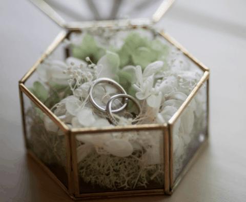 【このリングピローが素敵!】結婚式で使いたい、おしゃれデザインアイデアまとめ♡のカバー写真 0.8208333333333333