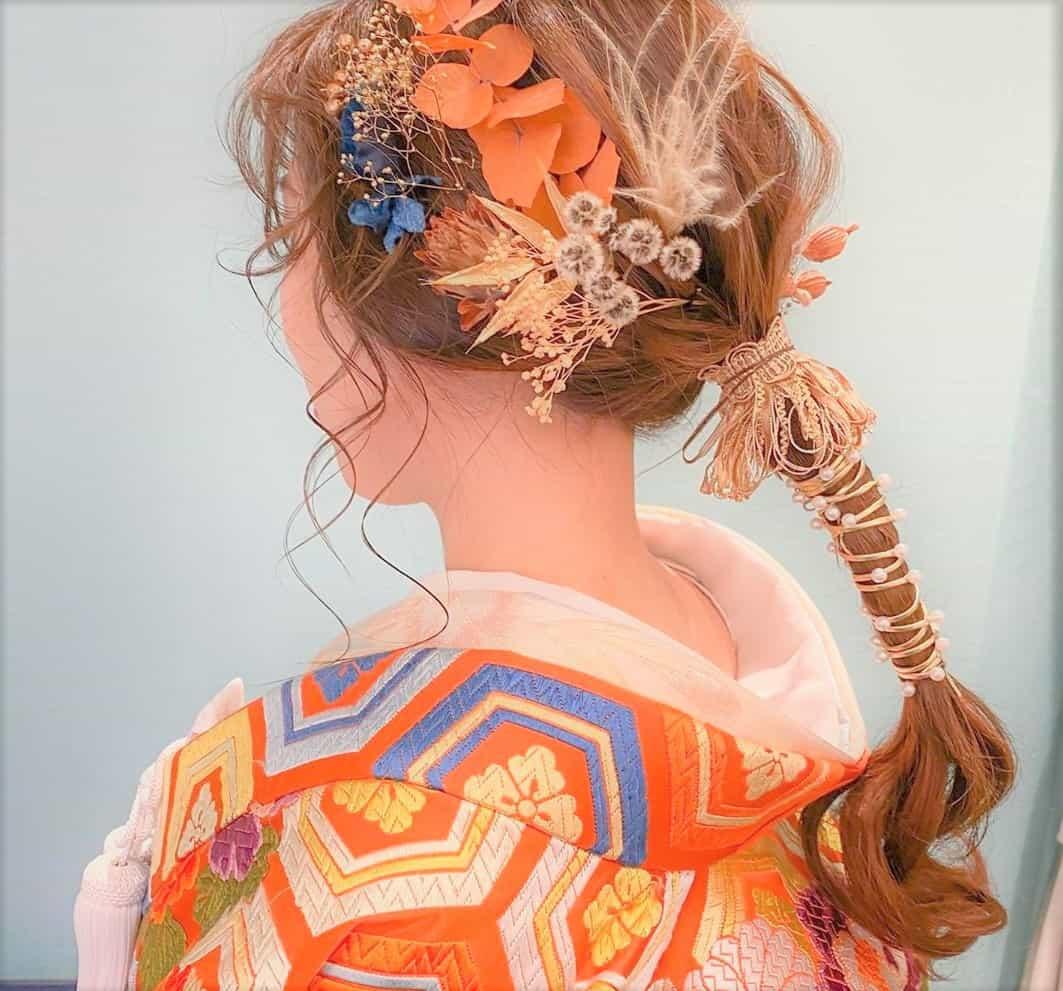 今っぽい♡和装×紐やリボンを使ったブライダルへアレンジがお洒落すぎる*のカバー写真